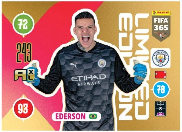 Panini FIFA 365 Adrenalyn XL 2021 Kollektion – LE-Card Ederson Vorne