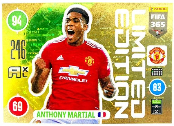 Panini FIFA 365 Adrenalyn XL 2021 Kollektion – LE-Card Anthony Martial Vorne
