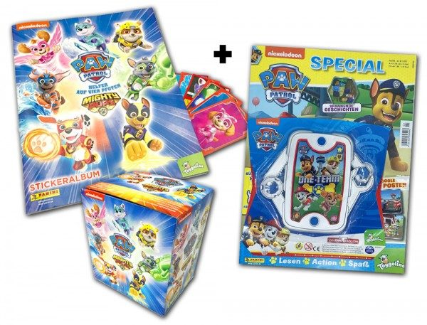 Paw Patrol - Mighty Pups Fan-Paket mit  Stickern & Magazin