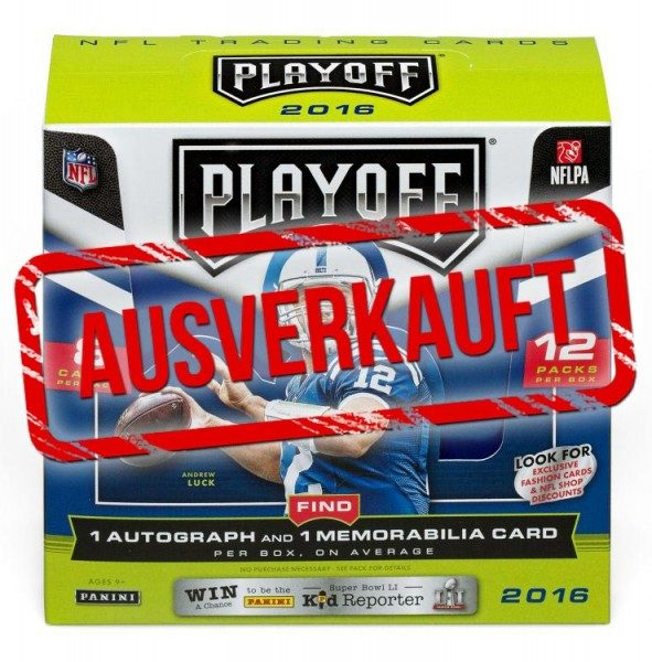 NFL 2016 Playoff Trading Cards - Box mit 12 Tüten
