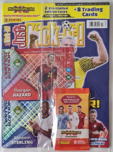 Just Kick-it! Magazin 11/21 Cover Erling Haaland und Extra Cards zur Road to Worldcup