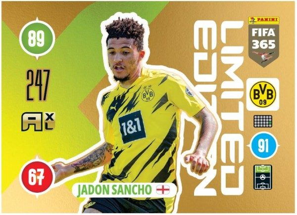 Panini FIFA 365 Adrenalyn XL 2021 Kollektion – LE-Card Jadon Sancho Vorne
