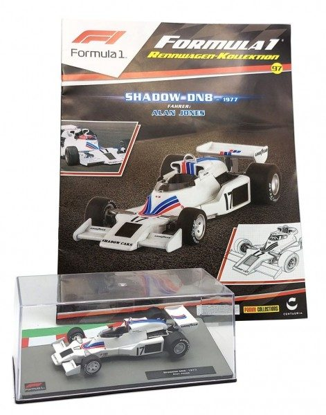 Formula 1 Rennwagen-Kollektion 97 - Alan Jones (Shadow DN8) Magazin und Modell