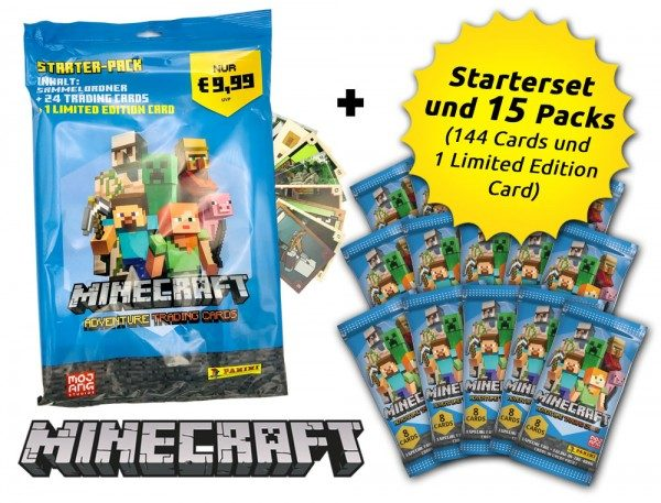 Minecraft Trading Cards - Super-Starter-Bundle - Inhalt 15 Packs und Starterset